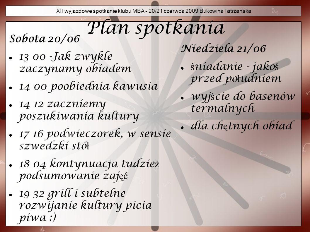 XII wyjazdowe spotkanie klubu MBA - 20/21 czerwca 2009 Bukowina Tatrzańska Sprawy organizacyjne Zapraszamy do Stasindy w Bukowinie Tatrza ń skiej.