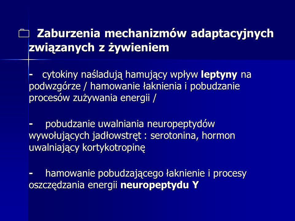 0 Zaburzenia mechanizmów adaptacyjnych związanych z żywieniem - cytokiny naśladują hamujący wpływ leptyny na podwzgórze / hamowanie łaknienia i pobudz