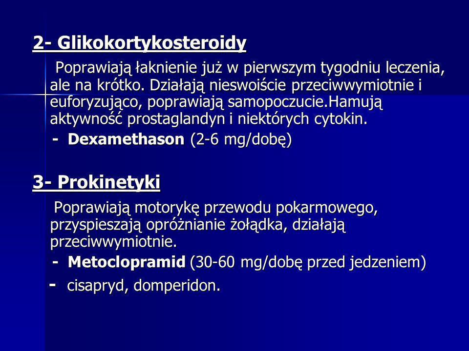 2- Glikokortykosteroidy Poprawiają łaknienie już w pierwszym tygodniu leczenia, ale na krótko. Działają nieswoiście przeciwwymiotnie i euforyzująco, p