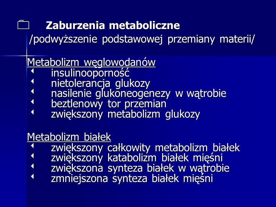 Metabolizm tłuszczów wzmożona lipoliza /mobilizacja WKT/ zmniejszenie lipogenezy zmniejszona aktywność lipazy Metabolizm tłuszczów wzmożona lipoliza /mobilizacja WKT/ zmniejszenie lipogenezy zmniejszona aktywność lipazy lipoproteinowej lipoproteinowej zwiększone stężenie trójglicerydów i zwiększone stężenie trójglicerydów i cholesterolu cholesterolu zmniejszone stężenie lipoprotein o dużej zmniejszone stężenie lipoprotein o dużej gęstości gęstości zwiększone stężenie glicerolu zwiększone stężenie glicerolu