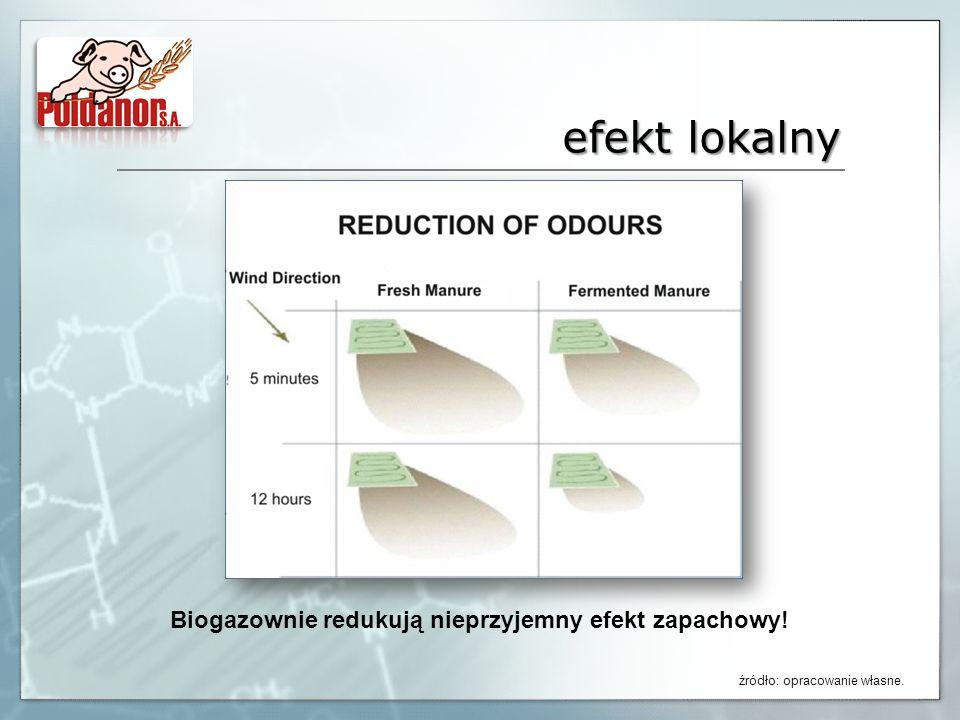 efekt lokalny Biogazownie redukują nieprzyjemny efekt zapachowy! źródło: opracowanie własne.