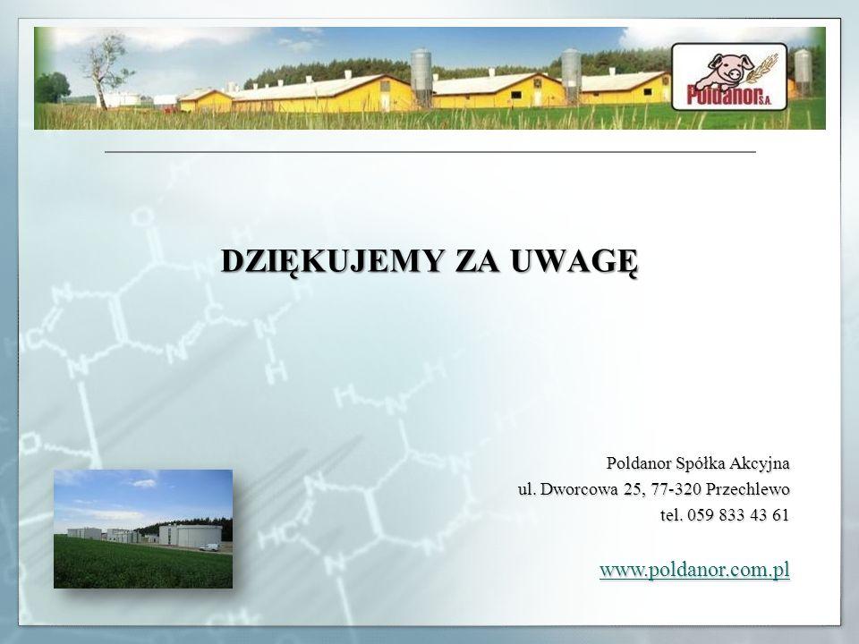 DZIĘKUJEMY ZA UWAGĘ Poldanor Spółka Akcyjna ul. Dworcowa 25, 77-320 Przechlewo tel. 059 833 43 61 www.poldanor.com.pl