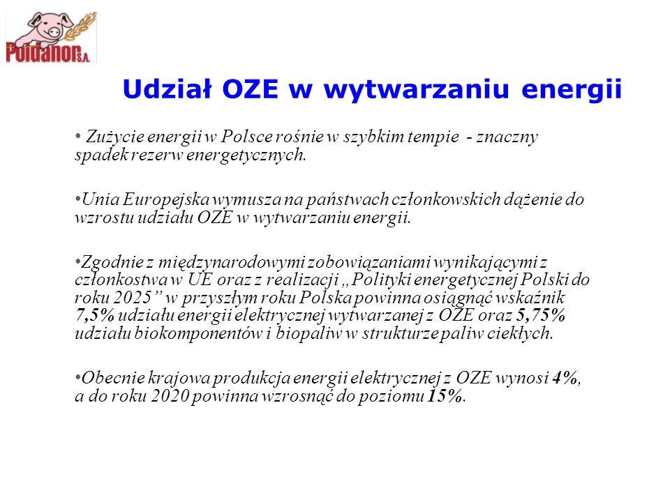 Udział OZE w wytwarzaniu energii Zużycie energii w Polsce rośnie w szybkim tempie - znaczny spadek rezerw energetycznych. Unia Europejska wymusza na p