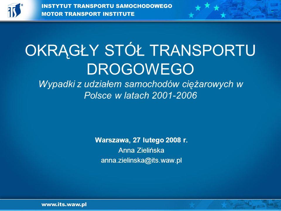 OKRĄGŁY STÓŁ TRANSPORTU DROGOWEGO Wypadki z udziałem samochodów ciężarowych w Polsce w latach 2001-2006 Warszawa, 27 lutego 2008 r.