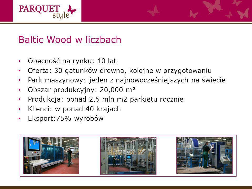 Baltic Wood w liczbach Obecność na rynku: 10 lat Oferta: 30 gatunków drewna, kolejne w przygotowaniu Park maszynowy: jeden z najnowocześniejszych na świecie Obszar produkcyjny: 20,000 m² Produkcja: ponad 2,5 mln m2 parkietu rocznie Klienci: w ponad 40 krajach Eksport:75% wyrobów