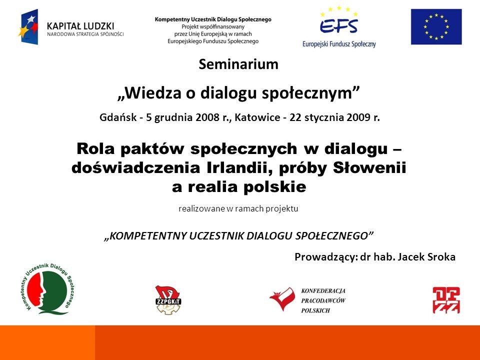 Seminarium Wiedza o dialogu społecznym Gdańsk - 5 grudnia 2008 r., Katowice - 22 stycznia 2009 r. Rola paktów społecznych w dialogu – doświadczenia Ir