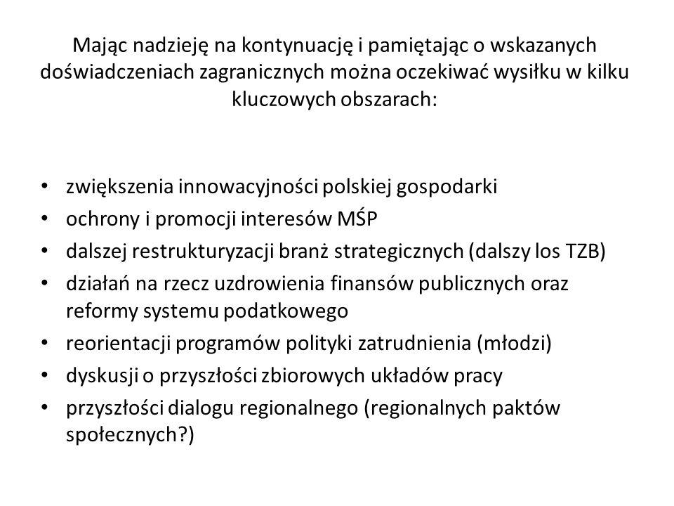 Mając nadzieję na kontynuację i pamiętając o wskazanych doświadczeniach zagranicznych można oczekiwać wysiłku w kilku kluczowych obszarach: zwiększenia innowacyjności polskiej gospodarki ochrony i promocji interesów MŚP dalszej restrukturyzacji branż strategicznych (dalszy los TZB) działań na rzecz uzdrowienia finansów publicznych oraz reformy systemu podatkowego reorientacji programów polityki zatrudnienia (młodzi) dyskusji o przyszłości zbiorowych układów pracy przyszłości dialogu regionalnego (regionalnych paktów społecznych?)