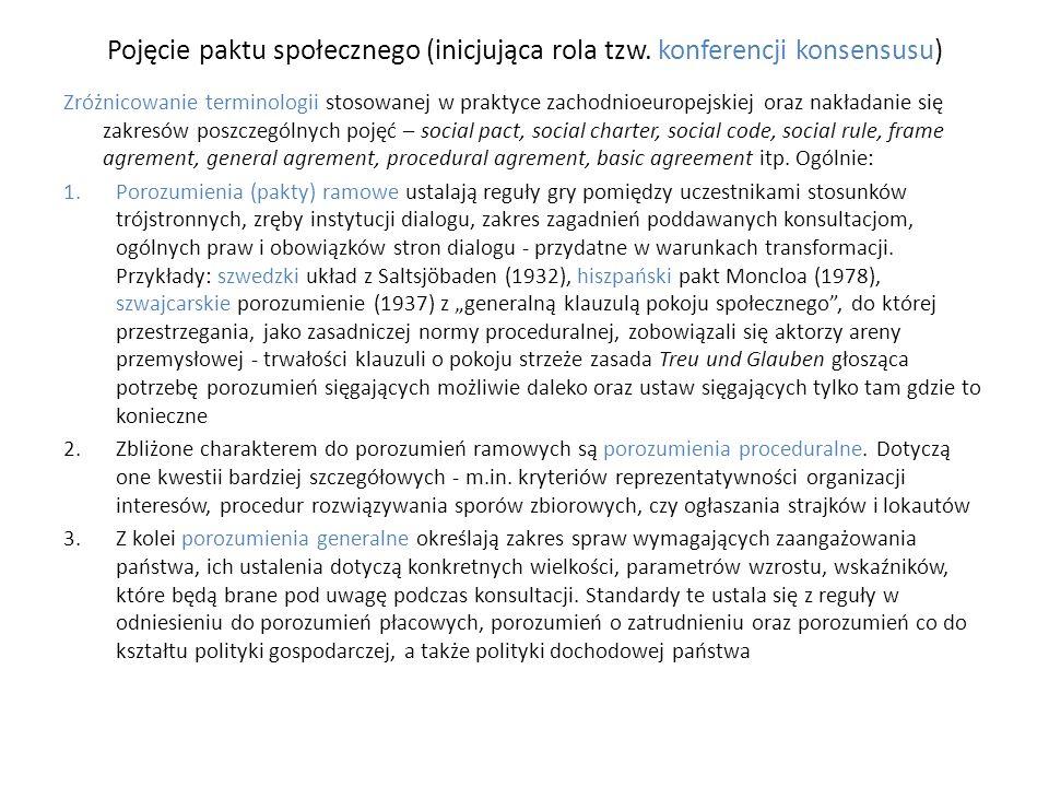 Pojęcie paktu społecznego (inicjująca rola tzw. konferencji konsensusu) Zróżnicowanie terminologii stosowanej w praktyce zachodnioeuropejskiej oraz na