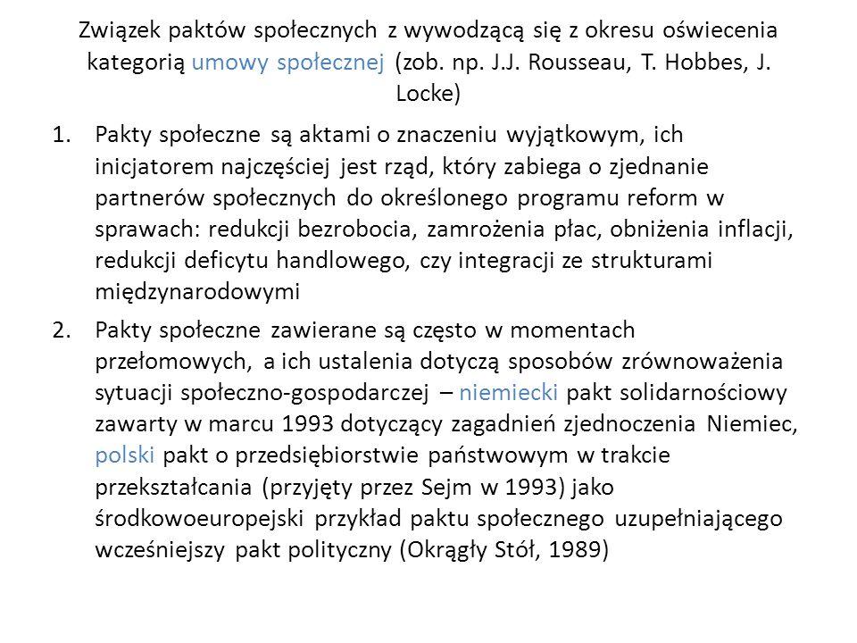 Związek paktów społecznych z wywodzącą się z okresu oświecenia kategorią umowy społecznej (zob.
