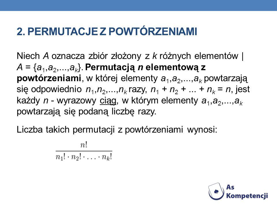 2. PERMUTACJE Z POWTÓRZENIAMI Niech A oznacza zbiór złożony z k różnych elementów | A = {a 1,a 2,...,a k }. Permutacją n elementową z powtórzeniami, w