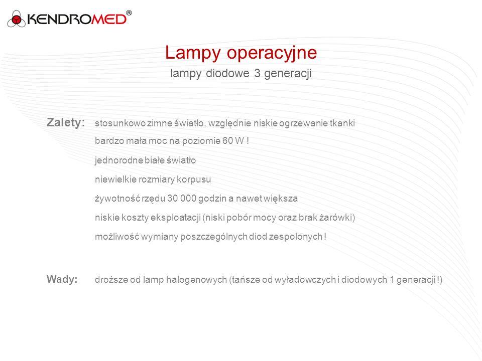 lampy diodowe 3 generacji Zalety: stosunkowo zimne światło, względnie niskie ogrzewanie tkanki bardzo mała moc na poziomie 60 W ! jednorodne białe świ