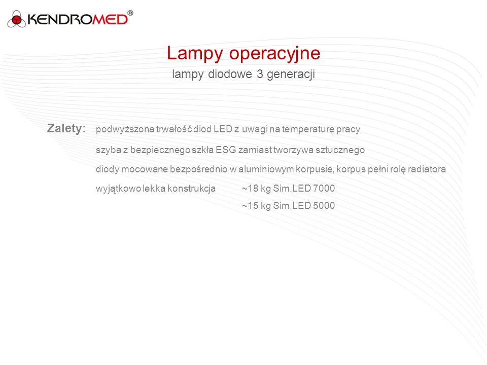 lampy diodowe 3 generacji Zalety: podwyższona trwałość diod LED z uwagi na temperaturę pracy szyba z bezpiecznego szkła ESG zamiast tworzywa sztuczneg