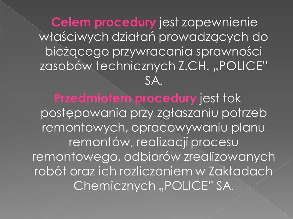 Celem procedury jest zapewnienie właściwych działań prowadzących do bieżącego przywracania sprawności zasobów technicznych Z.CH. POLICE SA. Przedmiote