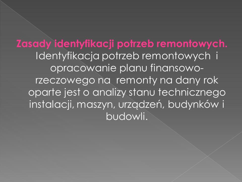 Zasady identyfikacji potrzeb remontowych. Identyfikacja potrzeb remontowych i opracowanie planu finansowo- rzeczowego na remonty na dany rok oparte je