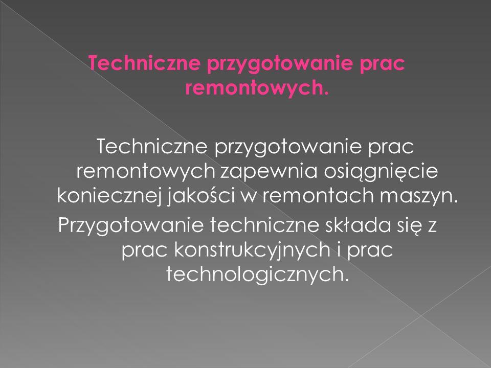 Techniczne przygotowanie prac remontowych. Techniczne przygotowanie prac remontowych zapewnia osiągnięcie koniecznej jakości w remontach maszyn. Przyg
