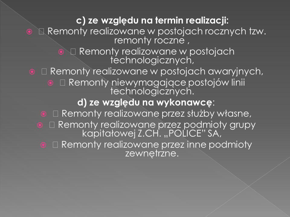 c) ze względu na termin realizacji: ƒ Remonty realizowane w postojach rocznych tzw. remonty roczne, ƒ Remonty realizowane w postojach technologicznych
