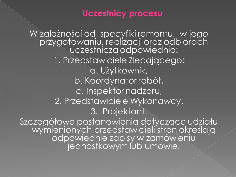Uczestnicy procesu W zależności od specyfiki remontu, w jego przygotowaniu, realizacji oraz odbiorach uczestniczą odpowiednio: 1. Przedstawiciele Zlec