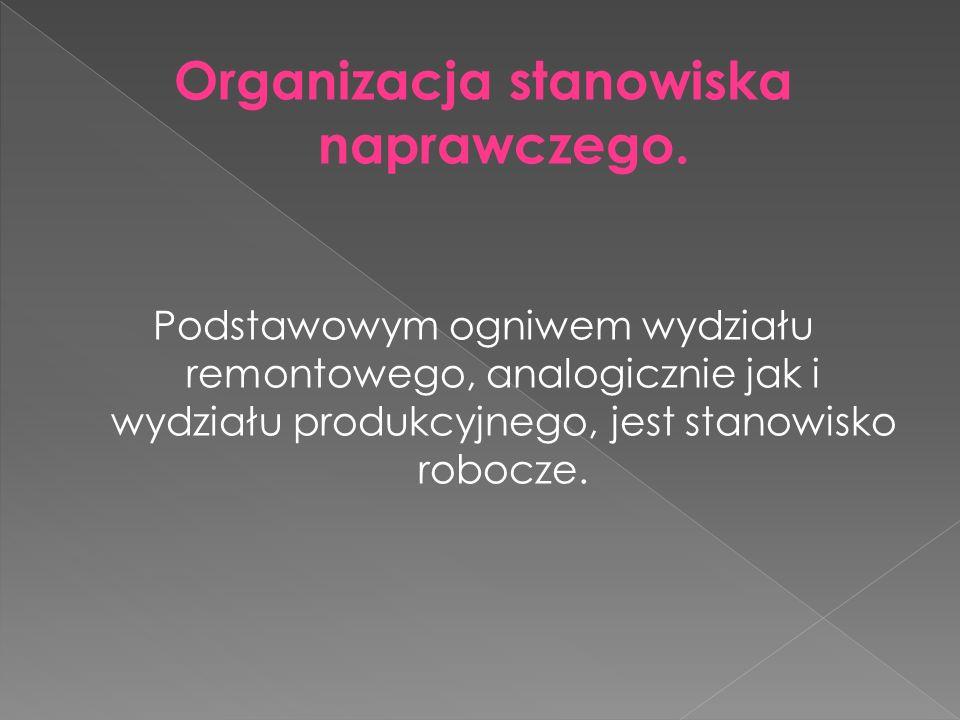 Organizacja stanowiska naprawczego. Podstawowym ogniwem wydziału remontowego, analogicznie jak i wydziału produkcyjnego, jest stanowisko robocze.