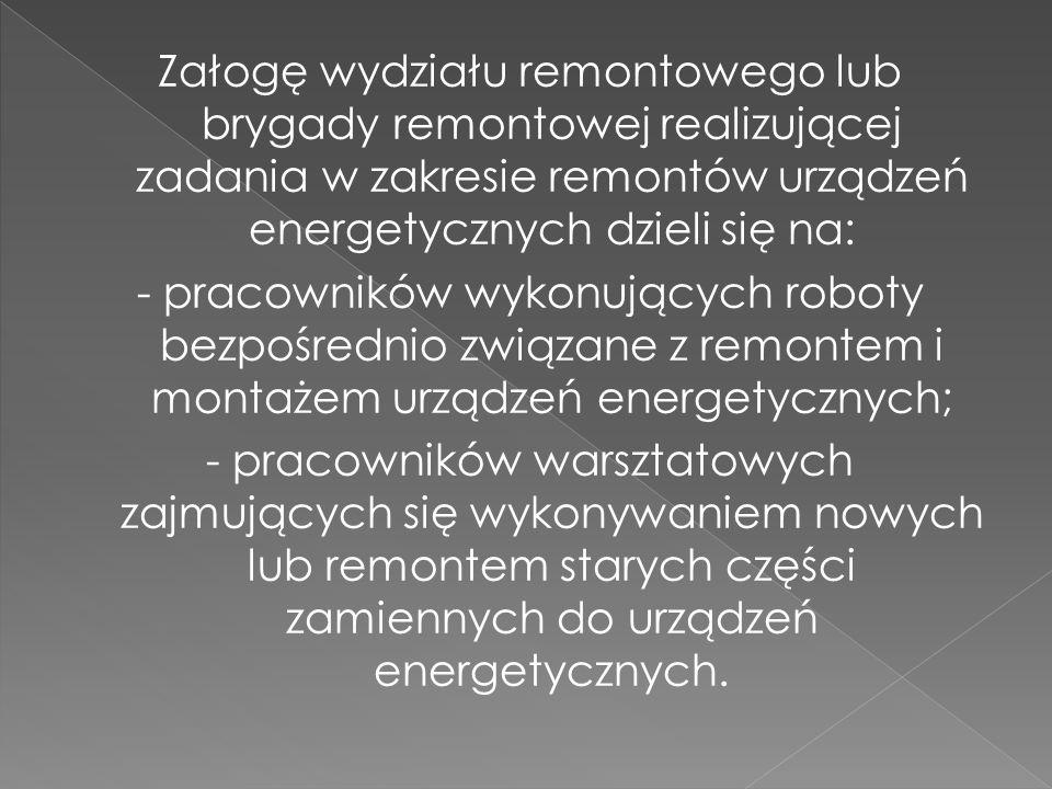 Załogę wydziału remontowego lub brygady remontowej realizującej zadania w zakresie remontów urządzeń energetycznych dzieli się na: - pracowników wykonujących roboty bezpośrednio związane z remontem i montażem urządzeń energetycznych; - pracowników warsztatowych zajmujących się wykonywaniem nowych lub remontem starych części zamiennych do urządzeń energetycznych.