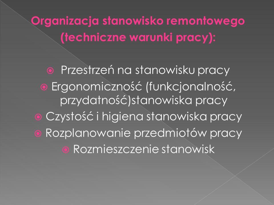 Organizacja stanowisko remontowego (techniczne warunki pracy): Przestrzeń na stanowisku pracy Ergonomiczność (funkcjonalność, przydatność)stanowiska pracy Czystość i higiena stanowiska pracy Rozplanowanie przedmiotów pracy Rozmieszczenie stanowisk