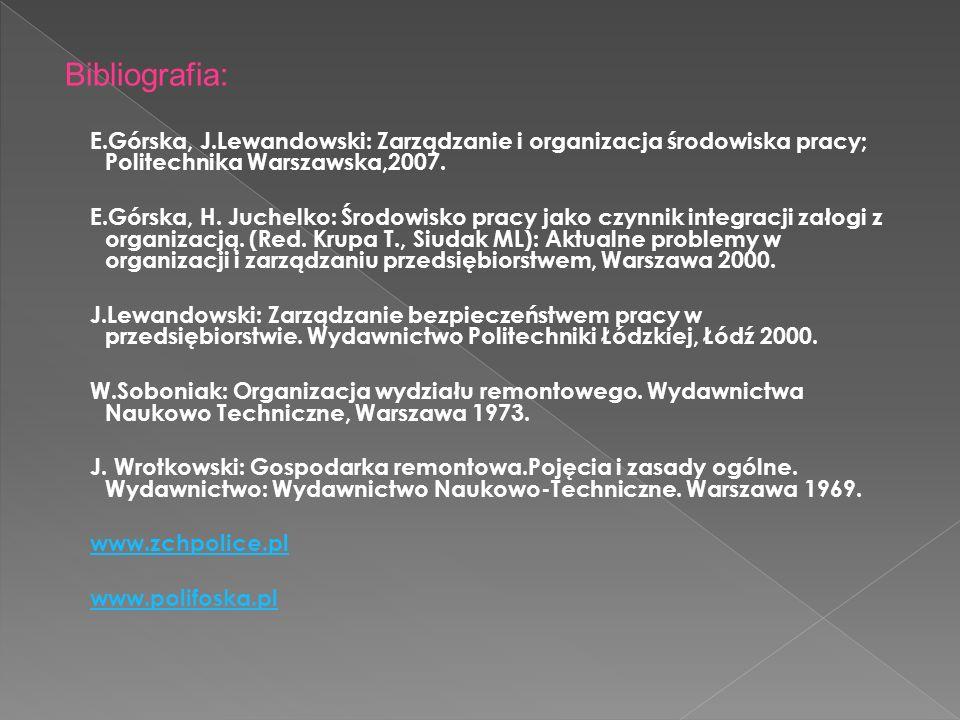 Bibliografia: E.Górska, J.Lewandowski: Zarządzanie i organizacja środowiska pracy; Politechnika Warszawska,2007. E.Górska, H. Juchelko: Środowisko pra
