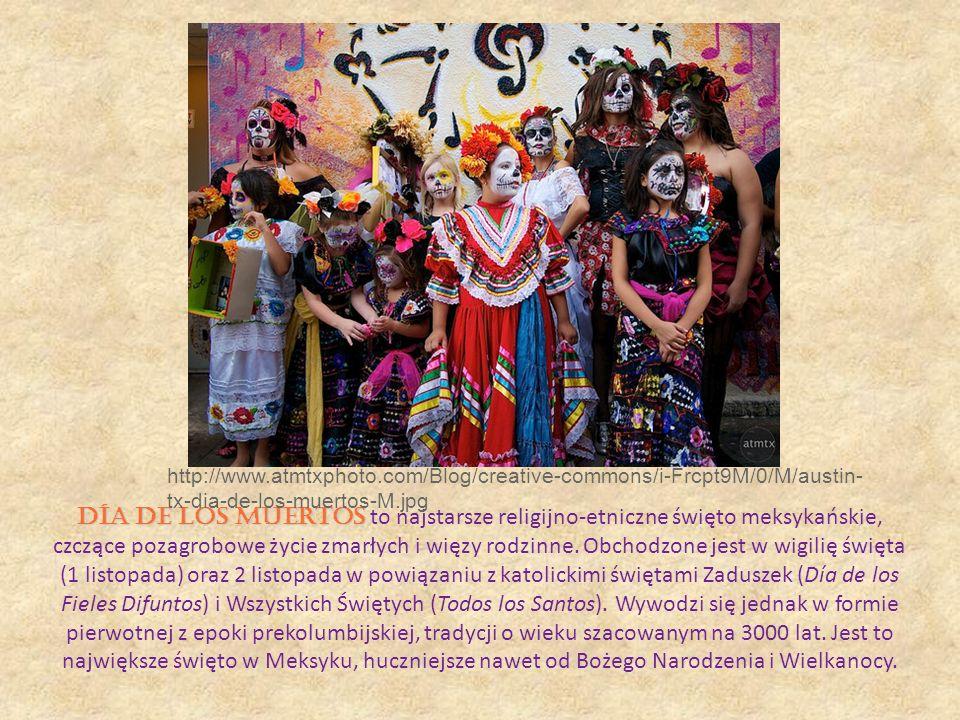 Día de los Muertos Día de los Muertos to najstarsze religijno-etniczne święto meksykańskie, czczące pozagrobowe życie zmarłych i więzy rodzinne. Obcho
