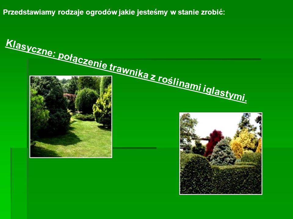 Przedstawiamy rodzaje ogrodów jakie jesteśmy w stanie zrobić: Klasyczne: połączenie trawnika z roślinami iglastymi.