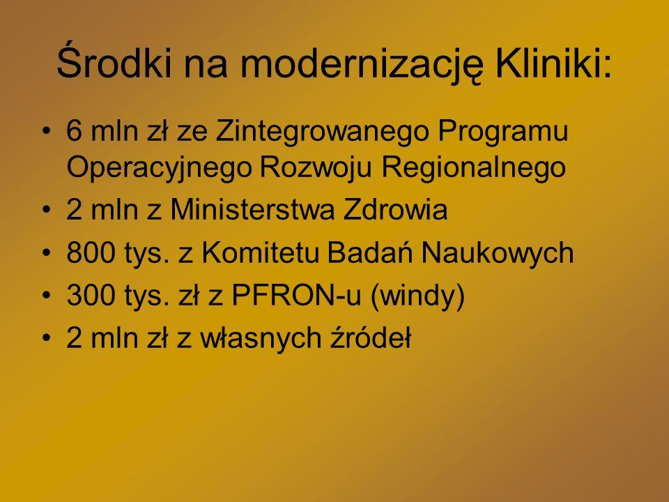 Środki na modernizację Kliniki: 6 mln zł ze Zintegrowanego Programu Operacyjnego Rozwoju Regionalnego 2 mln z Ministerstwa Zdrowia 800 tys.