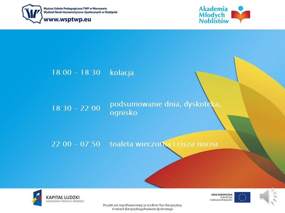 14:00 - 14:45cisza poobiednia 14:45 - 15:00podwieczorek 15:00 - 18:00 zajęcia fakultatywne, spotkania z ciekawymi ludźmi, zajęcia sportowo-rekreacyjne
