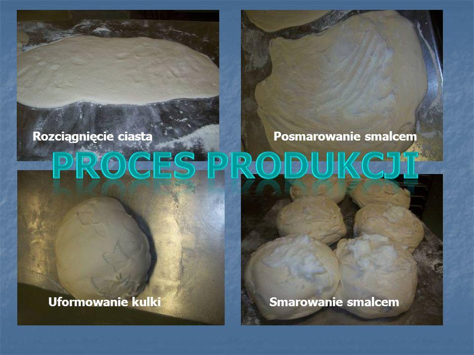 Rozciągnięcie ciastaPosmarowanie smalcem Uformowanie kulkiSmarowanie smalcem