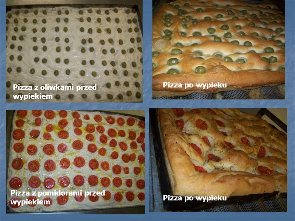 Pizza z oliwkami przed wypiekiem Pizza z pomidorami przed wypiekiem Pizza po wypieku
