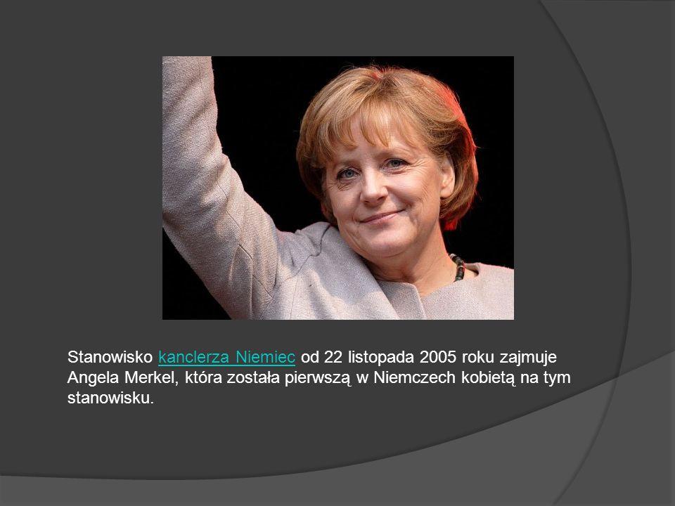 Stanowisko kanclerza Niemiec od 22 listopada 2005 roku zajmuje Angela Merkel, która została pierwszą w Niemczech kobietą na tym stanowisku.kanclerza N