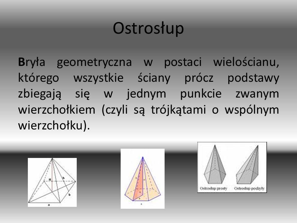 Ostrosłup Bryła geometryczna w postaci wielościanu, którego wszystkie ściany prócz podstawy zbiegają się w jednym punkcie zwanym wierzchołkiem (czyli