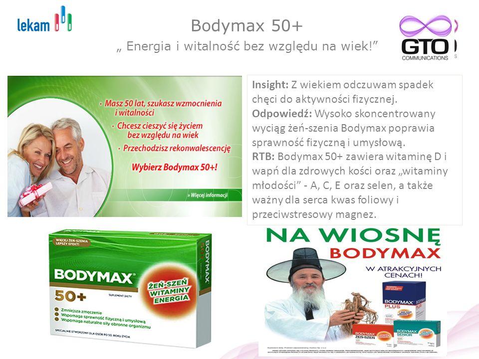 Bodymax 50+ Energia i witalność bez względu na wiek! Insight: Z wiekiem odczuwam spadek chęci do aktywności fizycznej. Odpowiedź: Wysoko skoncentrowan