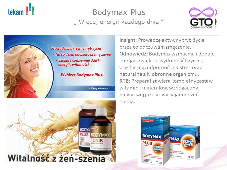 Bodymax Plus Więcej energii każdego dnia! Insight: Prowadzę aktywny tryb życia przez co odczuwam zmęczenie. Odpowiedź: Bodymax wzmacnia i dodaje energ