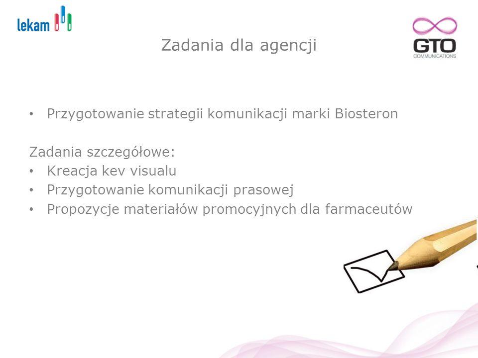 Zadania dla agencji Przygotowanie strategii komunikacji marki Biosteron Zadania szczegółowe: Kreacja kev visualu Przygotowanie komunikacji prasowej Pr