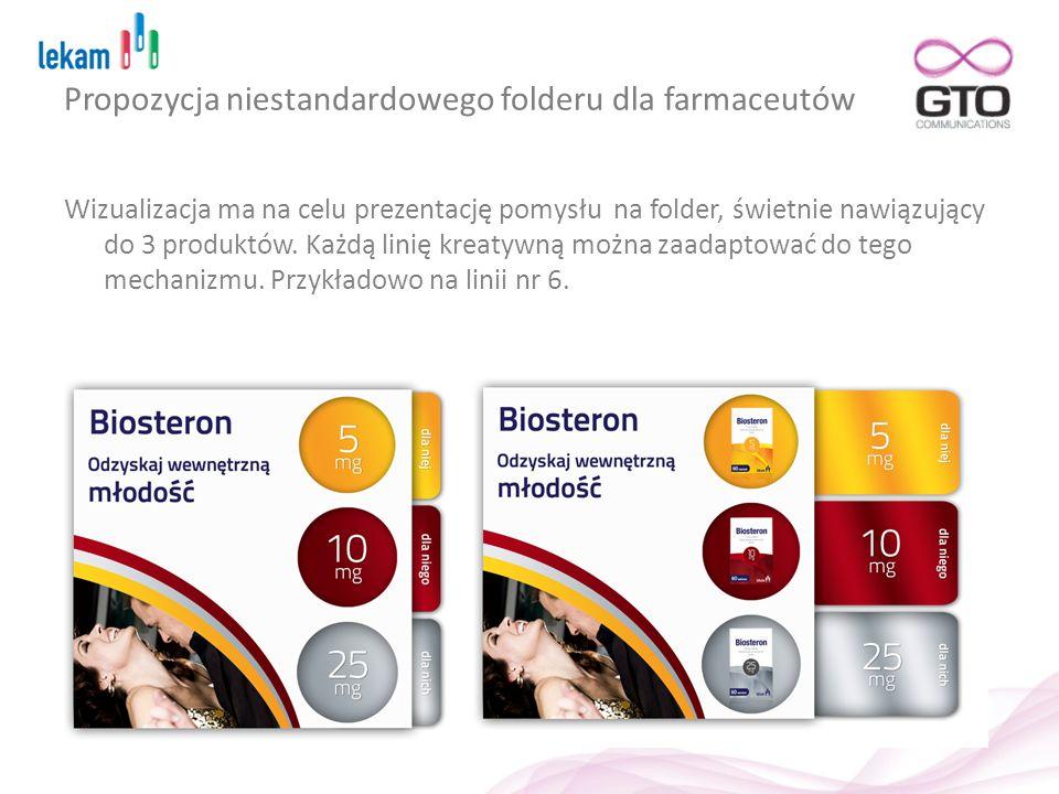 Propozycja niestandardowego folderu dla farmaceutów Wizualizacja ma na celu prezentację pomysłu na folder, świetnie nawiązujący do 3 produktów. Każdą