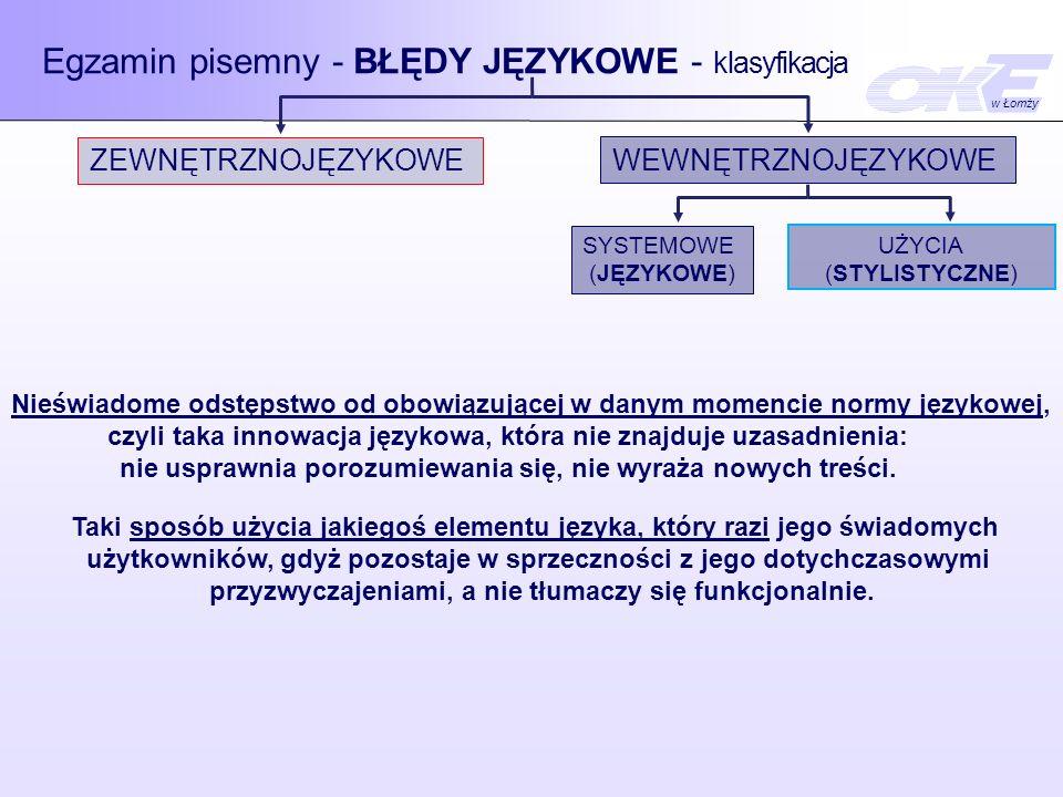 Egzamin pisemny - BŁĘDY JĘZYKOWE - klasyfikacja ZEWNĘTRZNOJĘZYKOWE WEWNĘTRZNOJĘZYKOWE ORTOGRAFICZNE INTERPUNKCYJNE SYSTEMOWE (JĘZYKOWE) UŻYCIA (STYLISTYCZNE) GRAMATYCZNE LEKSYKALNEFONETYCZNE SŁOWNIKOWE -użycie wyrazów w niewłaściwym znaczeniu, -mylenie znaczeń wyrazów podobnych brzmieniowo, -pleonazmy, -nadużywanie modnych wyrazów.