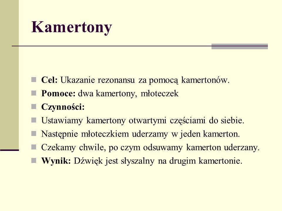 Kamertony Cel: Ukazanie rezonansu za pomocą kamertonów. Pomoce: dwa kamertony, młoteczek Czynności: Ustawiamy kamertony otwartymi częściami do siebie.
