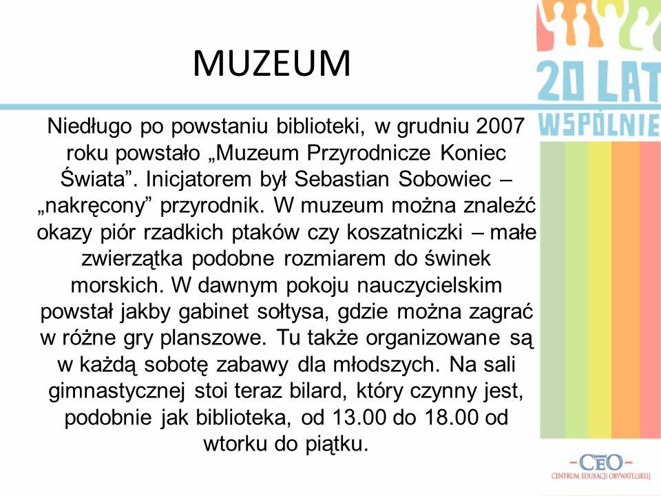 BIBLIOTEKA Historia biblioteki w Dzierdziówce jest długa. Dawniej była tu szkoła: dwie klasy, pokój nauczycielski i mała sala gimnastyczna. Szkołę z p