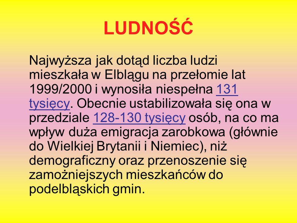 LUDNOŚĆ Najwyższa jak dotąd liczba ludzi mieszkała w Elblągu na przełomie lat 1999/2000 i wynosiła niespełna 131 tysięcy. Obecnie ustabilizowała się o