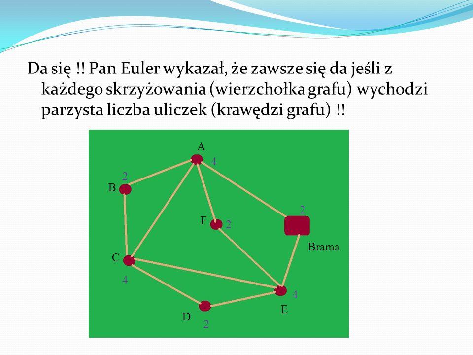 Da się !! Pan Euler wykazał, że zawsze się da jeśli z każdego skrzyżowania (wierzchołka grafu) wychodzi parzysta liczba uliczek (krawędzi grafu) !! Br