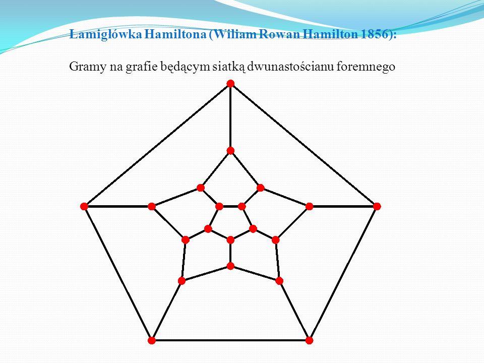 Łamigłówka Hamiltona (Wiliam Rowan Hamilton 1856): Gramy na grafie będącym siatką dwunastościanu foremnego