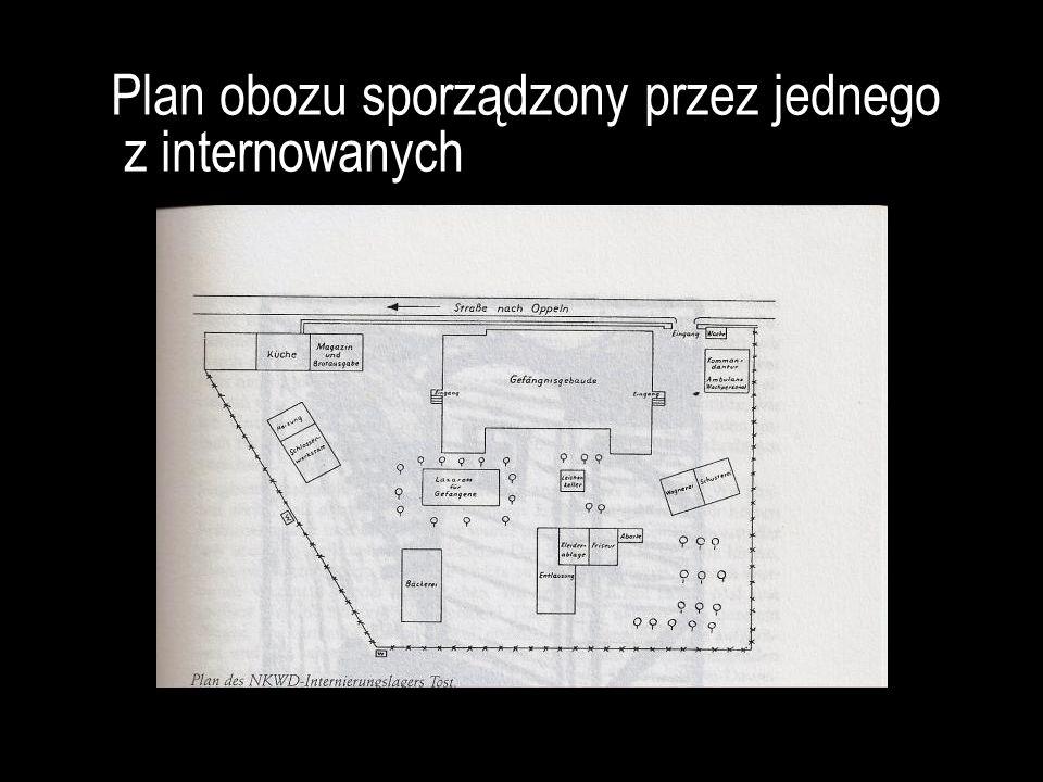 Plan obozu sporządzony przez jednego z internowanych