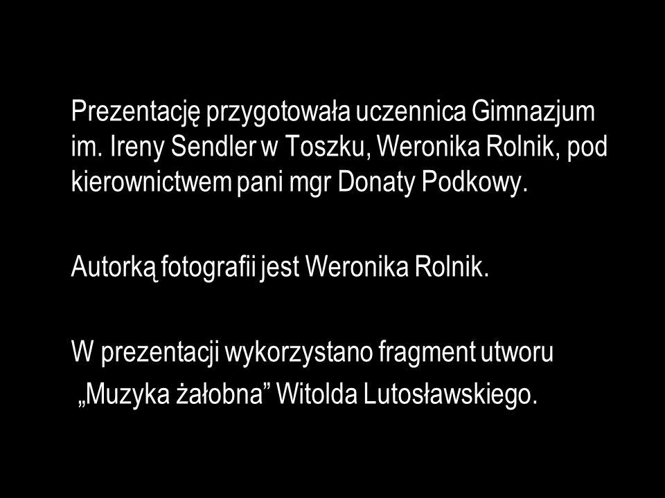 Prezentację przygotowała uczennica Gimnazjum im. Ireny Sendler w Toszku, Weronika Rolnik, pod kierownictwem pani mgr Donaty Podkowy. Autorką fotografi