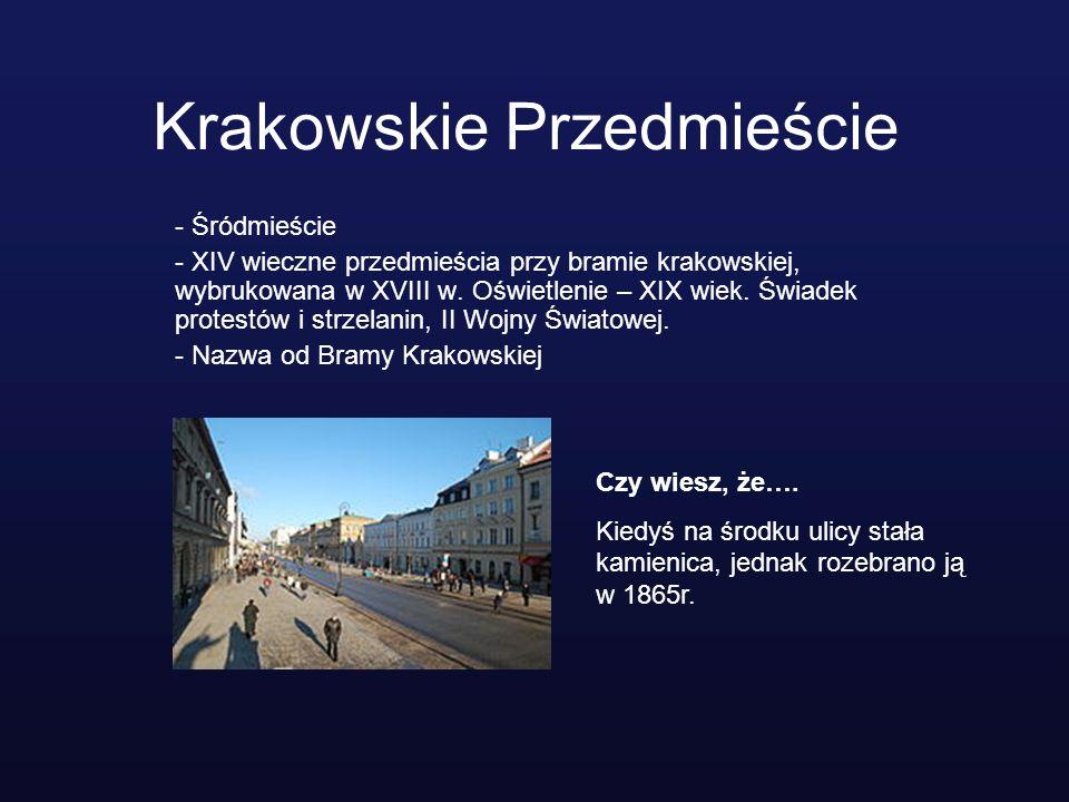 Krakowskie Przedmieście - Śródmieście - XIV wieczne przedmieścia przy bramie krakowskiej, wybrukowana w XVIII w. Oświetlenie – XIX wiek. Świadek prote