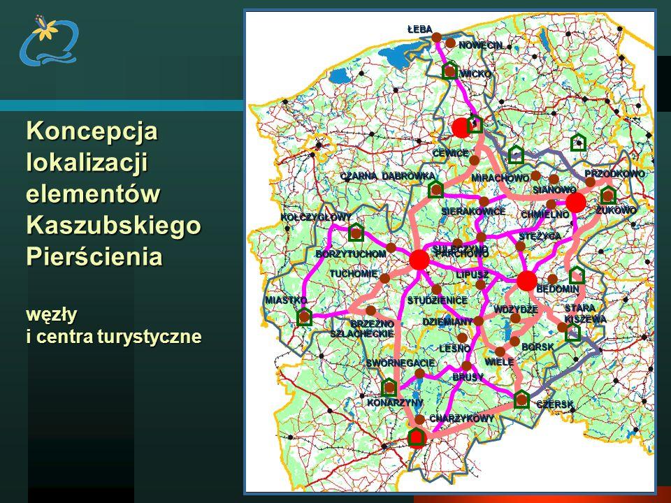 Koncepcja lokalizacji elementów Kaszubskiego Pierścienia węzły i centra turystyczne KONARZYNY SWORNEGACIE CHARZYKOWY BRUSY LEŚNO CZERSK DZIEMIANYLIPUS
