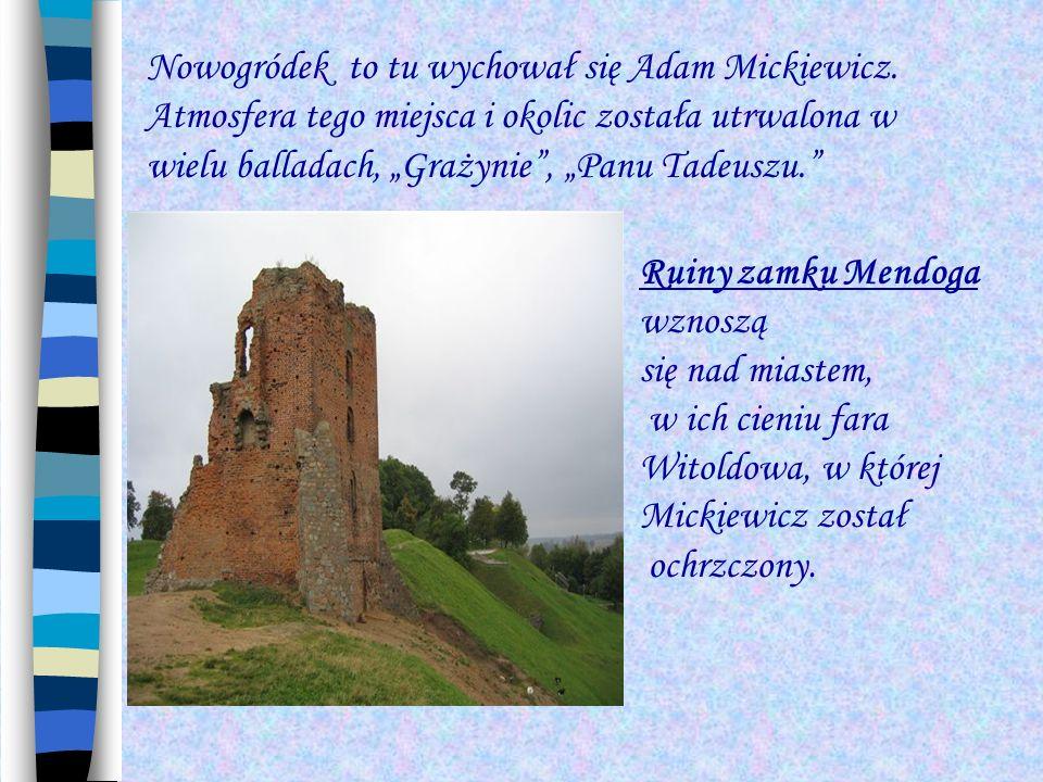 Nowogródek to tu wychował się Adam Mickiewicz. Atmosfera tego miejsca i okolic została utrwalona w wielu balladach, Grażynie, Panu Tadeuszu. Ruiny zam