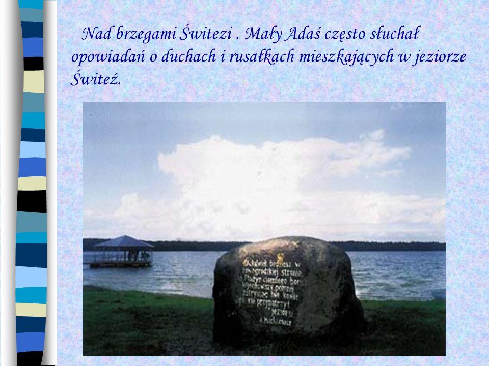 Nad brzegami Świtezi. Mały Adaś często słuchał opowiadań o duchach i rusałkach mieszkających w jeziorze Świteź.