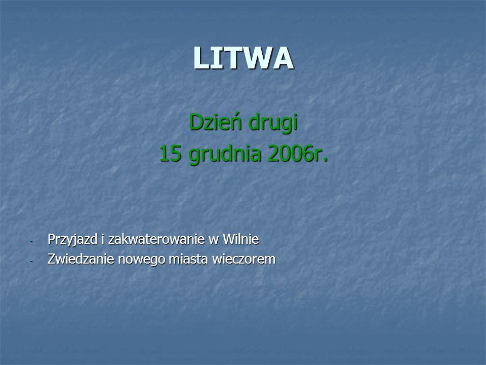 LITWA Dzień drugi 15 grudnia 2006r. - Przyjazd i zakwaterowanie w Wilnie - Zwiedzanie nowego miasta wieczorem